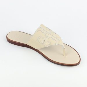 New TORY BURCH Jamie Ivory Leather Thong Sandal 8